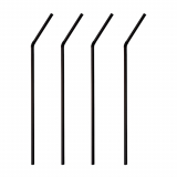 6 x  1000 Trinkhalme, flexibel Ø 5 mm · 24 cm schwarz
