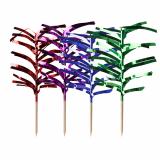 10 x  144 Deko-Picker 12 cm farbig sortiert Palmblätter