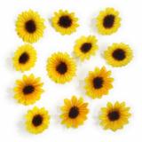 12 x  12 Deko-Accessoires gelb Sunflowers sortiert