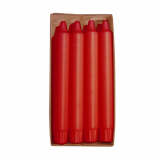 10 x  8 Kronkerzen Ø 2,4 cm · 20 cm rot aus 100 % Stearin