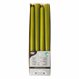 10 x  8 Leuchterkerzen Ø 2,2 cm · 25 cm olivgrün aus 100 % Stearin