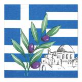 12 x  50 Servietten, 3-lagig 1/4-Falz 33 cm x 33 cm Greece