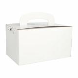 5 x  20 Lunch-Boxen, Pappe eckig 12,5 cm x 15,5 cm x 22,5 cm weiss mit Tragegriff