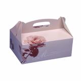 10 x  20 Gebäck-Kartons, Pappe eckig 16 cm x 10 cm x 9 cm rosé mit Tragegriff