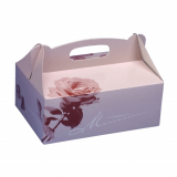 10 x  20 Gebäck-Kartons, Pappe eckig 20 cm x 13 cm x 9 cm rosé mit Tragegriff