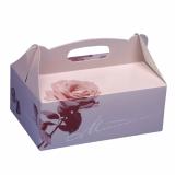 10 x  15 Gebäck-Kartons, Pappe eckig 23 cm x 16 cm x 9 cm rosé mit Tragegriff
