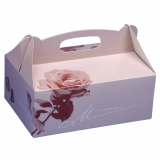 10 x  15 Gebäck-Kartons, Pappe eckig 26 cm x 22 cm x 9 cm rosé mit Tragegriff