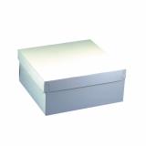 5 x  10 Tortenkartons, mit Deckel, Pappe eckig 30 cm x 30 cm x 13 cm weiss