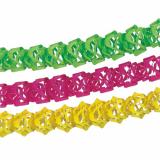 10 x  3 Girlanden, Papier Ø 12 cm · 4 m farbig sortiert Neon schwer entflammbar