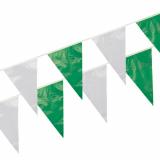 5 x  Wimpelkette, Folie 10 m grün/weiss wetterfest