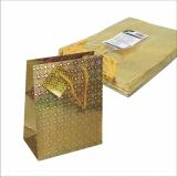 5 x  10 Lacktragetasche, Mittel 23 cm x 18 cm x 10 cm gold Holografie