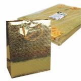 5 x  10 Lacktragetasche, Groß 32 cm x 26 cm x 13 cm gold Holografie