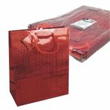 5 x  10 Lacktragetasche, Groß 32 cm x 26 cm x 13 cm rot Holografie