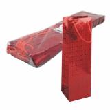 5 x  10 Lacktragetasche, Flasche 32 cm x 10 cm x 9 cm rot Holografie