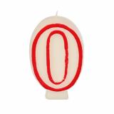 12 x  Zahlenkerze 7,3 cm weiss 0 mit rotem Rand