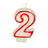 12 x  Zahlenkerze 7,3 cm weiss 2 mit rotem Rand