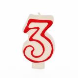 12 x  Zahlenkerze 7,3 cm weiss 3 mit rotem Rand