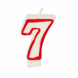 12 x  Zahlenkerze 7,3 cm weiss 7 mit rotem Rand