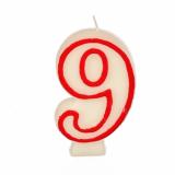 12 x  Zahlenkerze 7,3 cm weiss 9 mit rotem Rand