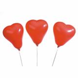 12 x  5 Luftballons Ø 13 cm rot Heart small, mit 16 cm Haltestäben