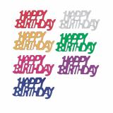 24 x  Deko-Streuschmuck, Folie farbig sortiert Happy Birthday 15 gr.