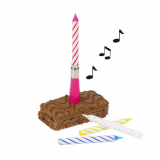 12 x  Musikkerze 12 cm farbig sortiert Happy Birthday mit 3 Ersatzkerzen