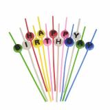 16 x  Spaghettikerzen-Set 16 cm farbig sortiert Happy Birthday