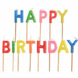 16 x  Buchstabenkerzen-Set 8 cm Happy Birthday