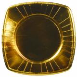 20 x  8 Teller, Pappe eckig 26 cm x 26 cm gold