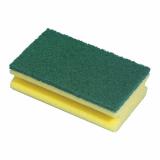 64 x  Topfreiniger, Schwamm 15,5 cm x 8,5 cm x 4 cm gelb mit Griffrille