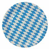 10 x  50 Teller, Pappe rund Ø 26 cm Bayrisch Blau extra stark