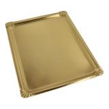 18 x  5 Servierplatten, Pappe, PET-beschichtet eckig 34 cm x 45,5 cm gold