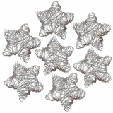 8 x  7 Deko-Accessoires Ø 55 mm silber Wired Stars