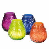 12 x  Windlichtglas farbig mit Wachsfüllung Ø 100 mm · 105 mm farbig sortiert