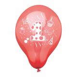 12 x  6 Zahlenluftballons Ø 25 cm farbig sortiert 1