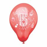 12 x  6 Zahlenluftballons Ø 25 cm farbig sortiert 5