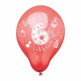 12 x  6 Zahlenluftballons Ø 25 cm farbig sortiert 6