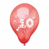 12 x  6 Zahlenluftballons Ø 25 cm farbig sortiert 10