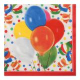 6 x  100 Servietten, 3-lagig 1/4-Falz 33 cm x 33 cm Lucky Balloons