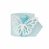 6 x  4 Serviettenringe Ø 4 cm hellblau Butterfly