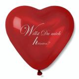 12 x  Luftballon, Maxi Ø 44 cm rot Herz mit Heiratsantrag + Ersatzballon