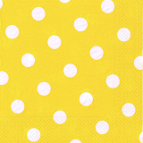 10 x  20 Servietten, 3-lagig 1/4-Falz 40 cm x 40 cm gelb Dots
