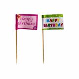 12 x  20 Deko-Picker 8 cm Happy Birthday