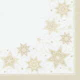 5 x  50 Servietten ROYAL Collection 1/4-Falz 40 cm x 40 cm champagner Just Stars