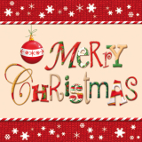 15 x  20 Servietten, 3-lagig 1/4-Falz 33 cm x 33 cm Merry Christmas