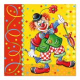 6 x  100 Servietten, 3-lagig 1/4-Falz 33 cm x 33 cm Clown