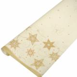 20 x  Tischdecke, Papier 7 m x 1,2 m creme Just Stars lackiert