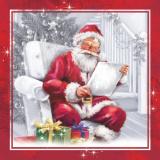 15 x  20 Servietten, 3-lagig 1/4-Falz 33 cm x 33 cm Santa´s Christmas Story