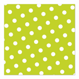 12 x  30 Servietten, 3-lagig 1/4-Falz 33 cm x 33 cm limonengrün Dots