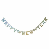 20 x  Grußkette 1,55 m silber Happy New Year Holographie
